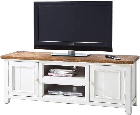 MÖBEL IDEAL Byron - Mueble bajo para televisor (160 x 60 x 45 cm, madera maciza reciclada), color blanco y marrón: Amazon.es: Juguetes y juegos