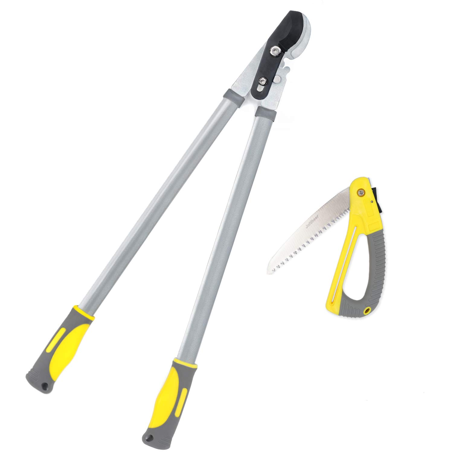 Jardineer 2PC Garden Tools-30.2'' Heavy Duty Garden Loppers & 15.5'' Safety Pruning Saw. Sharp Cut Garden Loppers Set for Pruning,Trimming and Outdoors. 1 Year Warranty