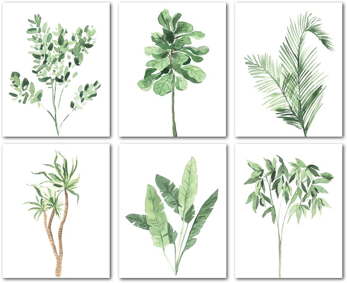 Avamie 6 Pack Boho Greenery Wall Art Prints, 8x10 inch Boho Minimalist Green Leaves Wall Art Prints Decor, Unframed, Botanical Plants Bohemian Modern Minimalist Wall Decor