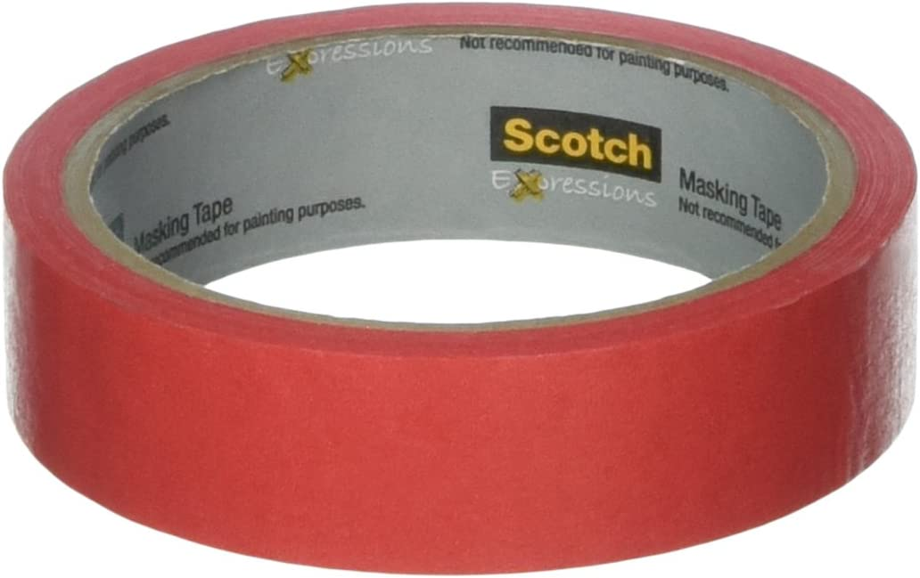 Scotch Brand Expressions Masking Tape, 0,94-Inch X 20-Yards, Primary rot (Mmm3437Prd)
