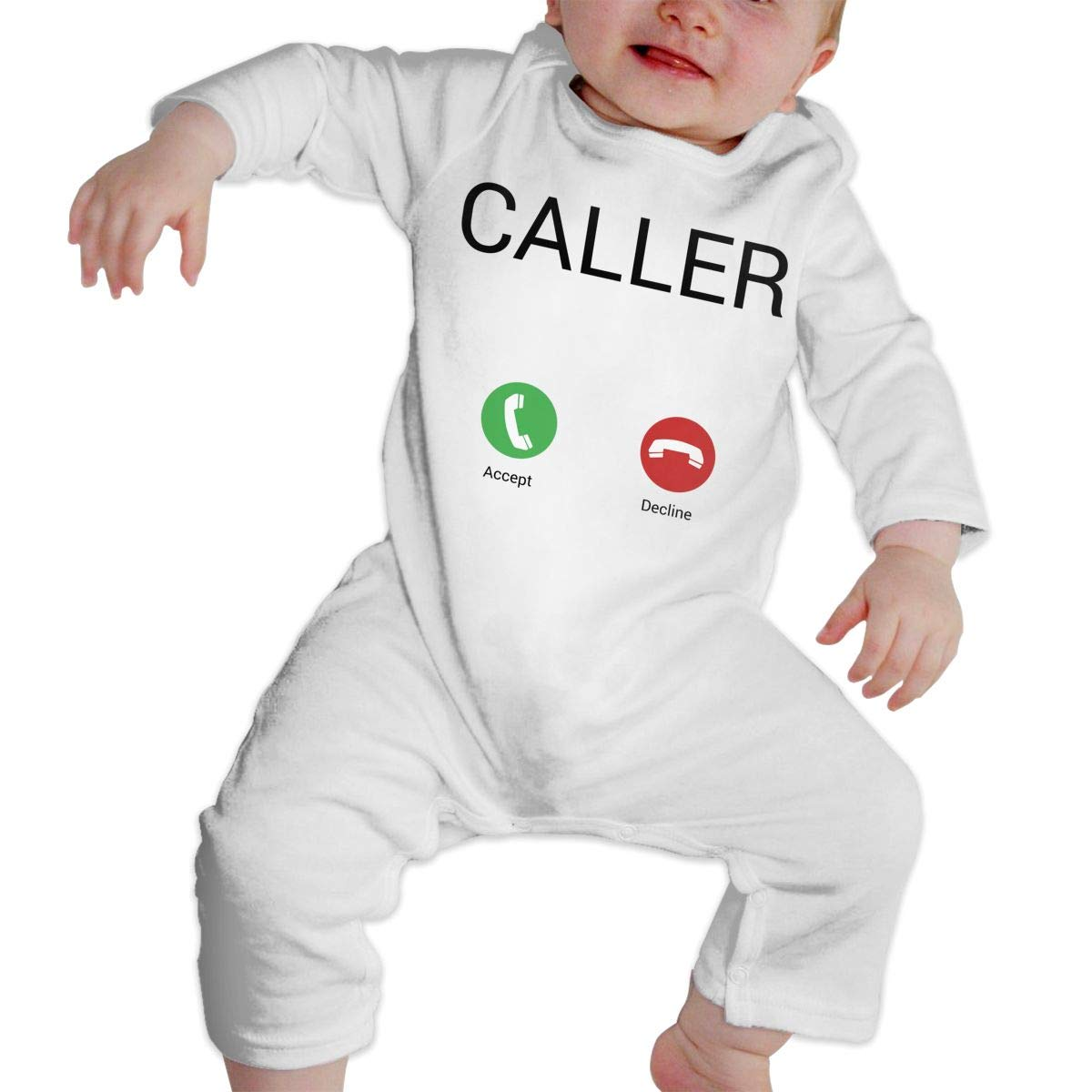 Unisex Baby Round Neck Long Sleeve Pure Color Romper Incoming Phone Call Interface Jumpsuit