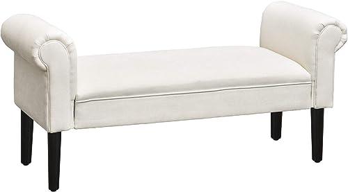 "HOMCOM 52"" Linen Upholstered Accent Ottoman Bench"