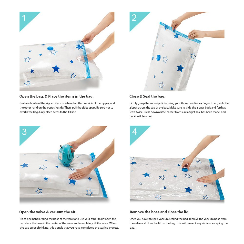 SpacePlus Premium Vacuum Storage Bags 12 Variety Packs, Works with Any Vacuum Cleaner and Free Travel Hand Pump, 80% Space Saver for Comforters, Blankets, Clothes, Pillows
