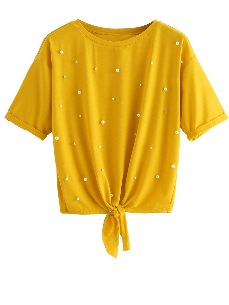 Romwe Women's Short Sleeve Tie Front Knot Casual Loose Fit Tee T-Shirt Yellow S