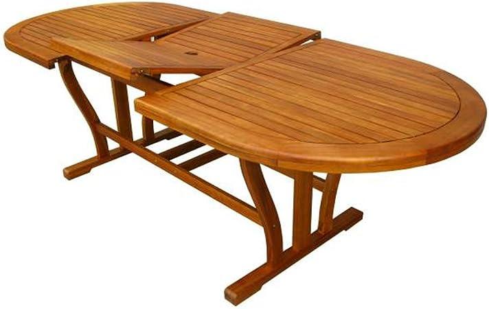 Mesa de madera de acacia ovalada extensible. mobiliario exterior ...