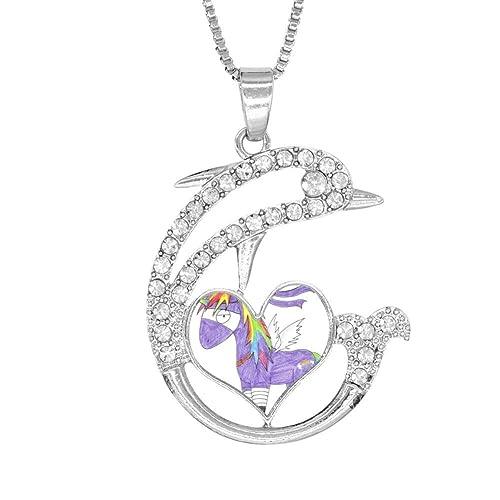 Amazon.com: H-Beufun Jumping Dolphin Love Heart Pendant ...