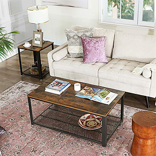 home, kitchen, furniture, living room furniture, tables,  coffee tables 2 discount VASAGLE Industrial Coffee Table with Storage Shelf for promotion