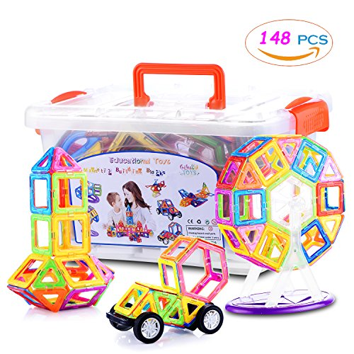 Magnetic Blocks, Gifts2U 148PCS 3D Magnetic Tiles Magnetic Building Blocks for Kids with Storage Box, Educational Toys for Baby and Kids Ages 2,3 ,4,5,6,7,8,9 Yr and Up Dollhouse Toy Box