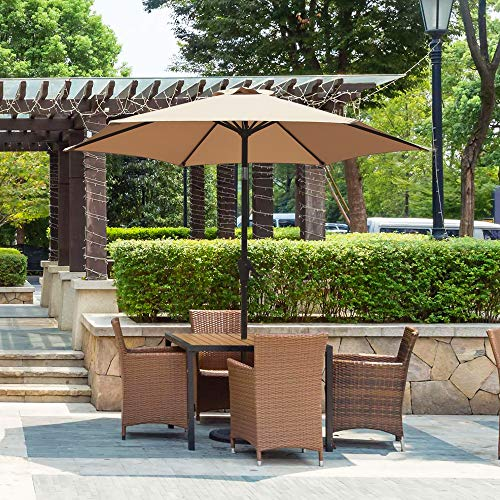 OC Orange-Casual 7.5 ft Patio Umbrella Outdoor Table Market Umbrella with Push Button Tilt and Crank, Tan ()