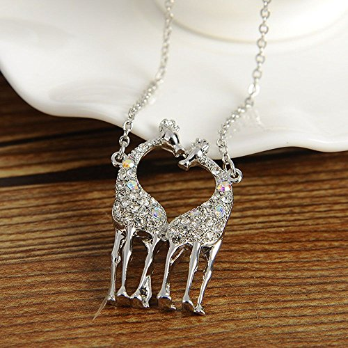 Giraffe Women Accessories Silver Necklace Lovers Couples Pendant for Girls Gift