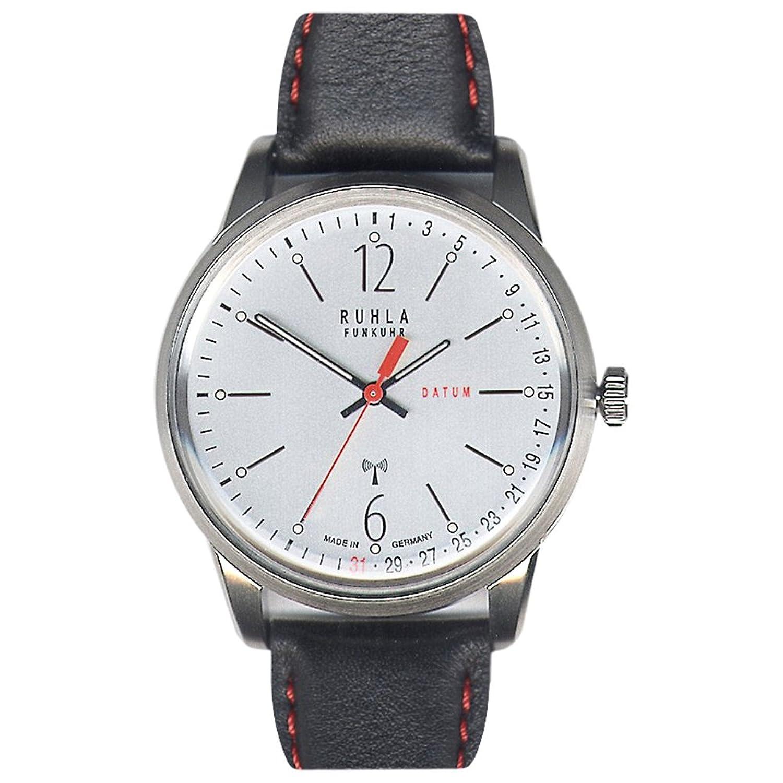 RUHLA Herren-Armbanduhr Elegant Analog Leder-Armband schwarz Funkuhr-Uhr Ziffernblatt silber URU097053C
