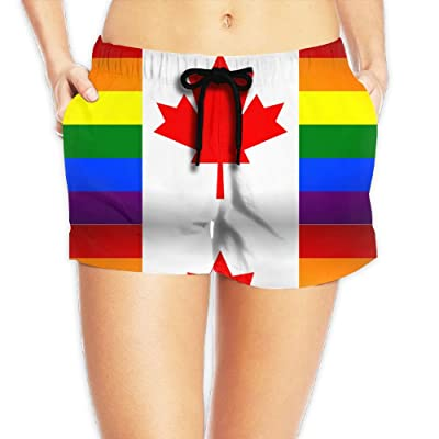 Xush Canada Gay Flag Womens Shorts Swim Trunks Quick Dry Beach Shorts with Pockets for Surfing Running Swimming Watersport
