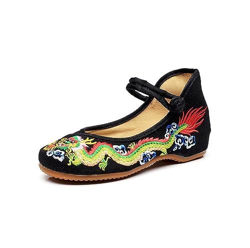 Lazutom - Zapatos estilo merceditas, diseño chino bordado, algodón: Amazon.es: Zapatos y complementos