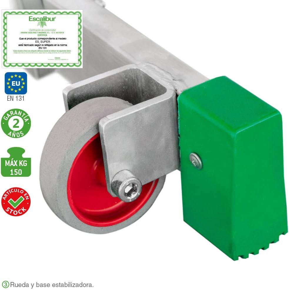 Montaje R/ápido Mini andamio de Aluminio Multiusos Escalibur Tacos de goma Antideslizantes Con Base Estabilizadora M/áxima seguridad 500x140x125//60 cm