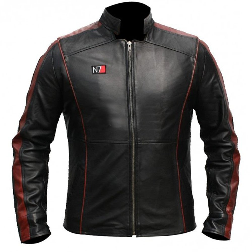 The Sparks Up Inc. N7 Mass Effect 3 Stylish Mens Stylish Black Faux Leather Jacket