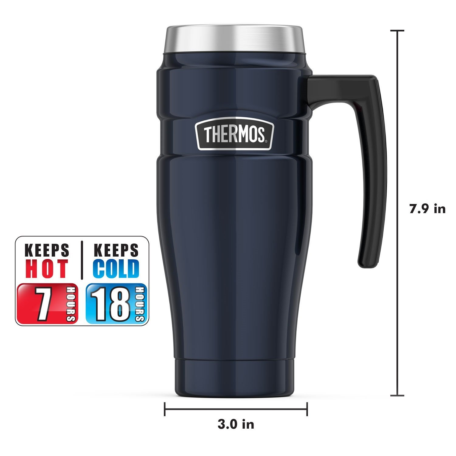 Thermos Stainless King 16 Ounce Travel Mug with Handle, Midnight Blue by Thermos (Image #7)