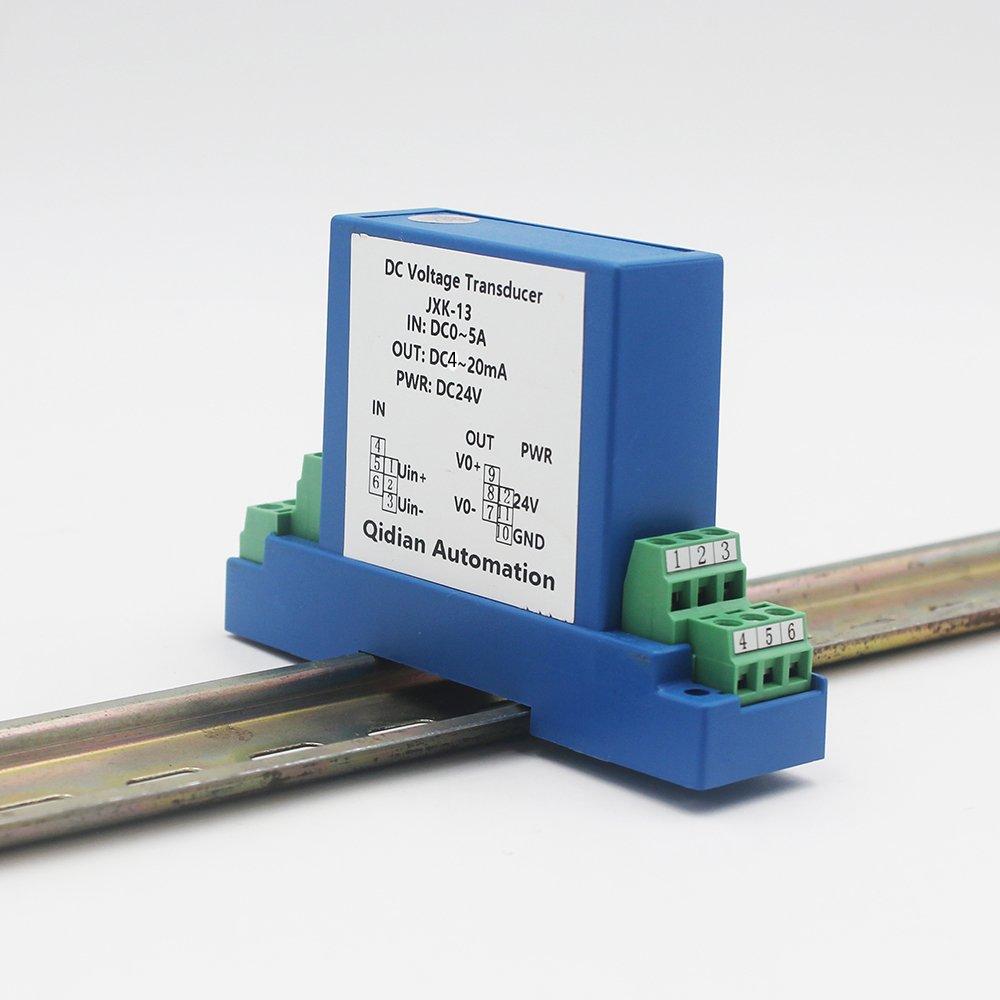 JXK-13 DC Voltage Pressure Transmitter Open Loop Voltage Transmitter Transducer 1 in 1 Out,0-5A Input,4-20mA Output,DC 24V Power Supply