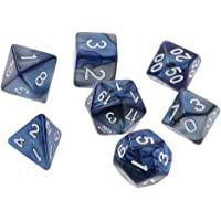 Lovoski 7-Die Polyhedral Dice Set Digital Double Color Dices for DND D&D RPG Roleplaying Games Party Supplies, Blue Silver