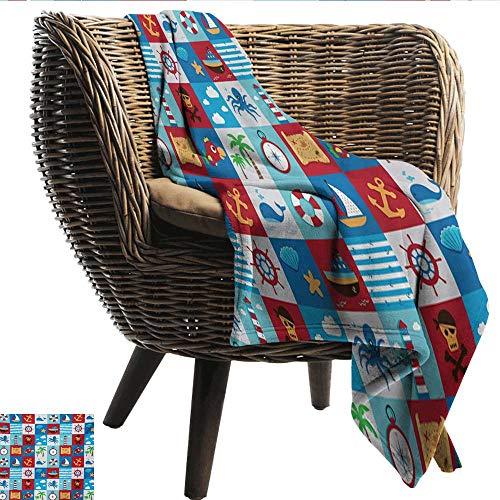 - Davishouse Kids Reversible Blanket Cartoon Style Nautical Icons and Animals Maritime Sea Life Pirates Joyful Collection Sofa Chair 50