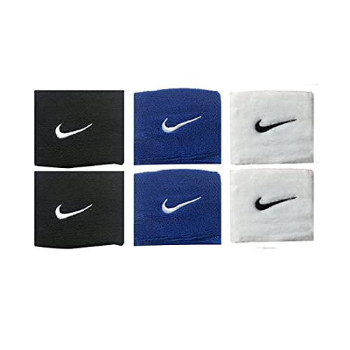 Verceys Sports Wrist Bands Sweat Bands Supporter For All Sports (Black, Blue And White )- 1 Pair Each