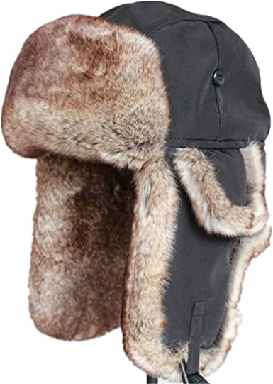 Bomber Hats Winter Men Warm Russian Leather Fur Ushanka With Ear Flaps