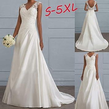 Mujer vestido novia,Sonnena ❄ retro princesa vestido de novia baile fiesta para mujer sin manga puro blanco charm decoración de encaje flores elegante ...