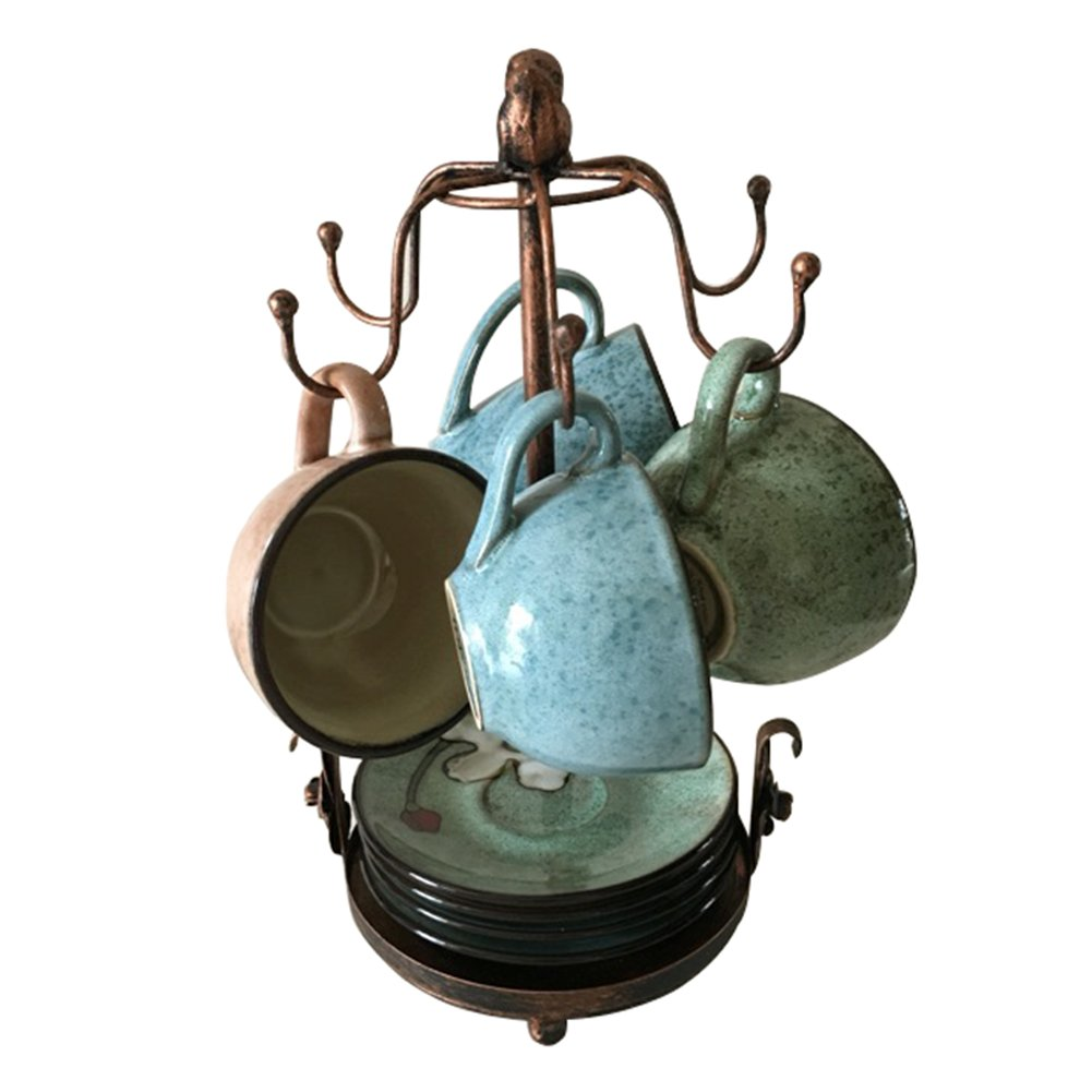 Creation Core Vintage Bronze Iron Coffee Cup Holder Storage Premium Rustic Tea Mug and Saucer Display Rack Holds 6 Cups