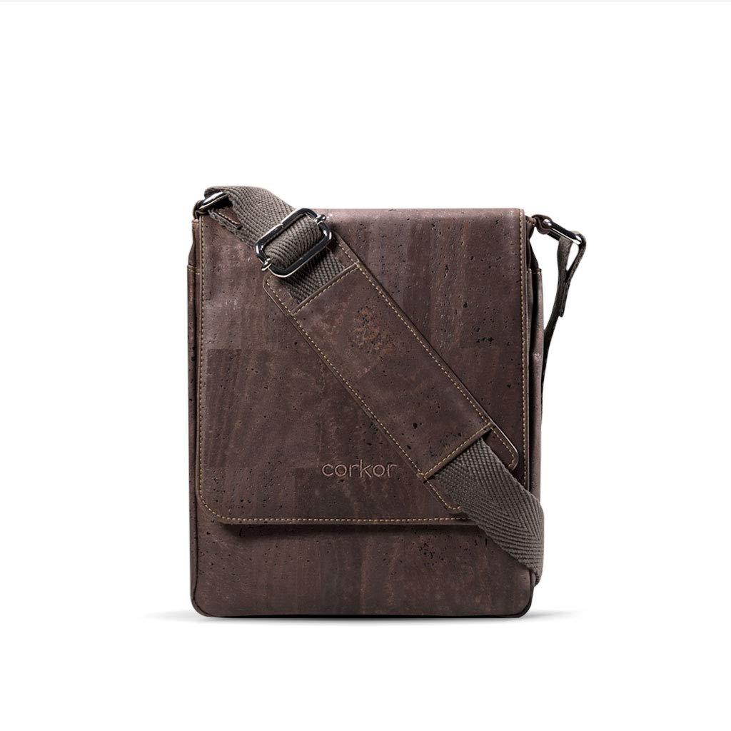 Corkor Messenger Laptop Bag 13 for Men Crossbody Strap Light Brown Color Vegan Cork