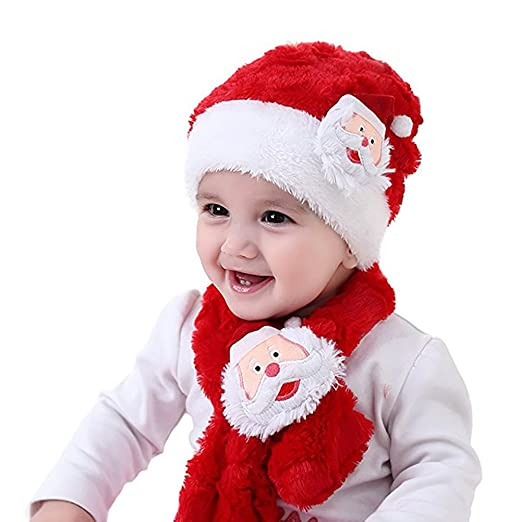c4153f5f1 Amazon.com: Baby Christmas Hat Scarf Kids Santa Claus Warm Plush Hat Scarf Festival  Costume By Rely2016: Clothing