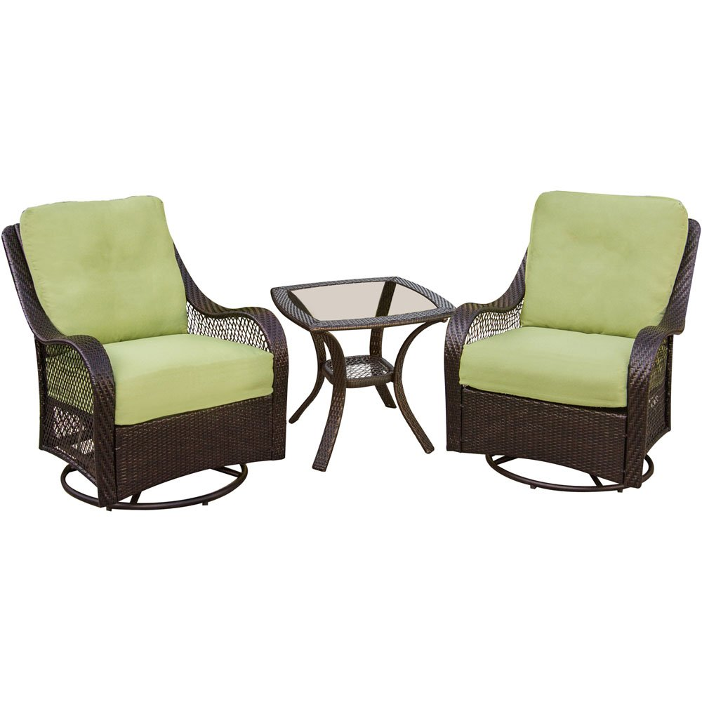 Amazon com   Hanover ORLEANS3PCSW Orleans 3 Piece Outdoor Lounging Set   Includes 2 Swivel Gliders and 24 by 24 Inch End Table   Garden   Outdoor. Amazon com   Hanover ORLEANS3PCSW Orleans 3 Piece Outdoor Lounging