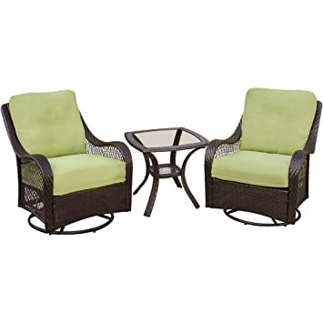 hanover orleans3pcsw orleans 3 piece outdoor lounging set includes 2 swivel gliders and
