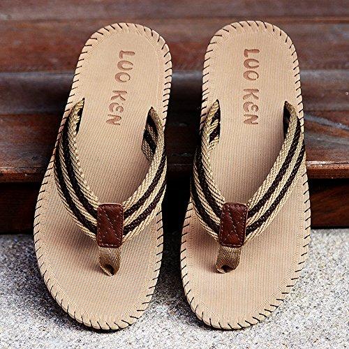 LOOKEN Men Slippers Sandals Beach Slippers Weave Of Cloth Comfortable Fashion Slippers Men Flip Flops Brown uiHZSC1tbW