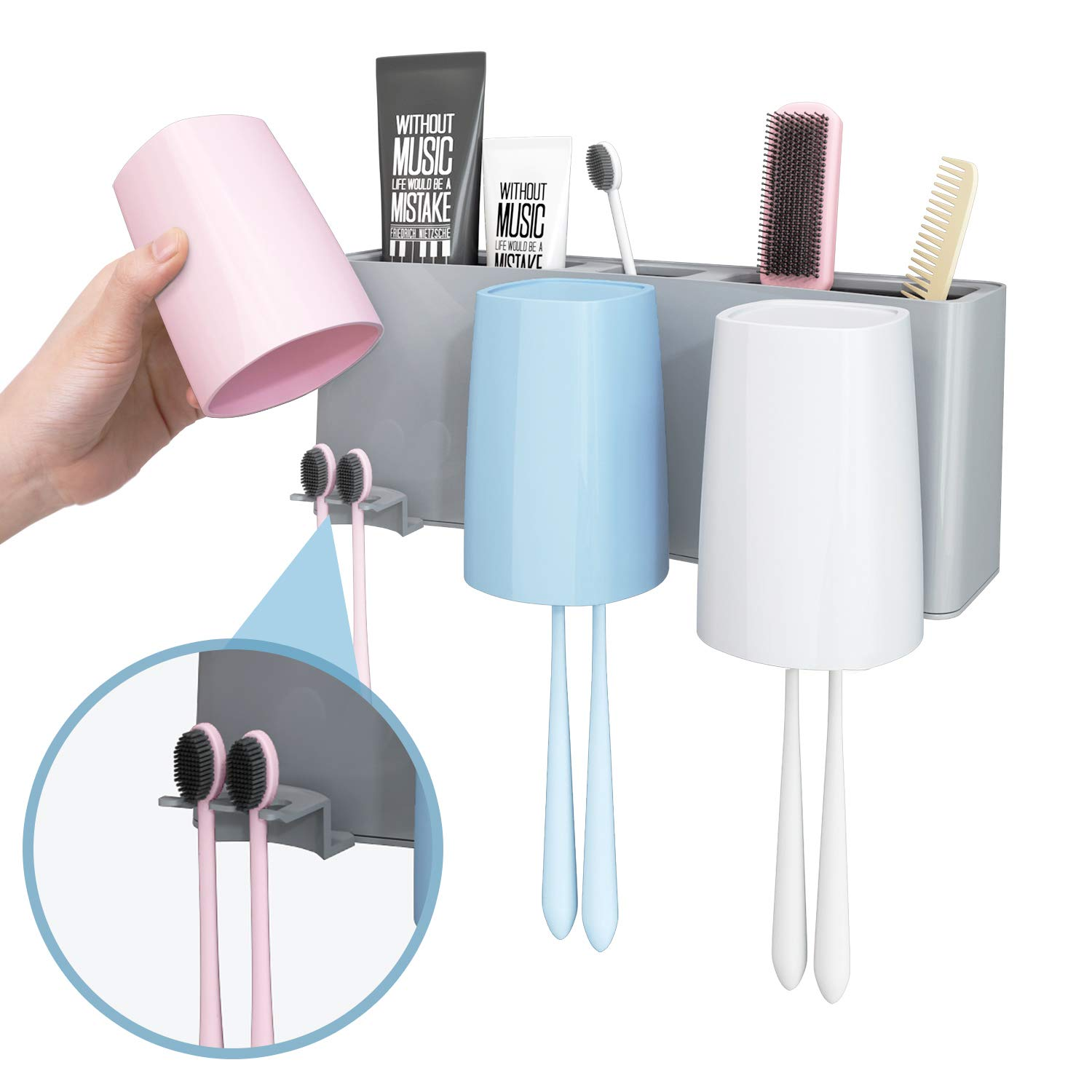 6 Toothbrush Slots Convallaria Toothbrush Holder Multifunctional Wall Mounted Bathroom Storage Organizer Anti-dust with 3M Self-Adhesive Easily Mounted Organizer 3 Color 3 Slots and 3 Rinse Cups