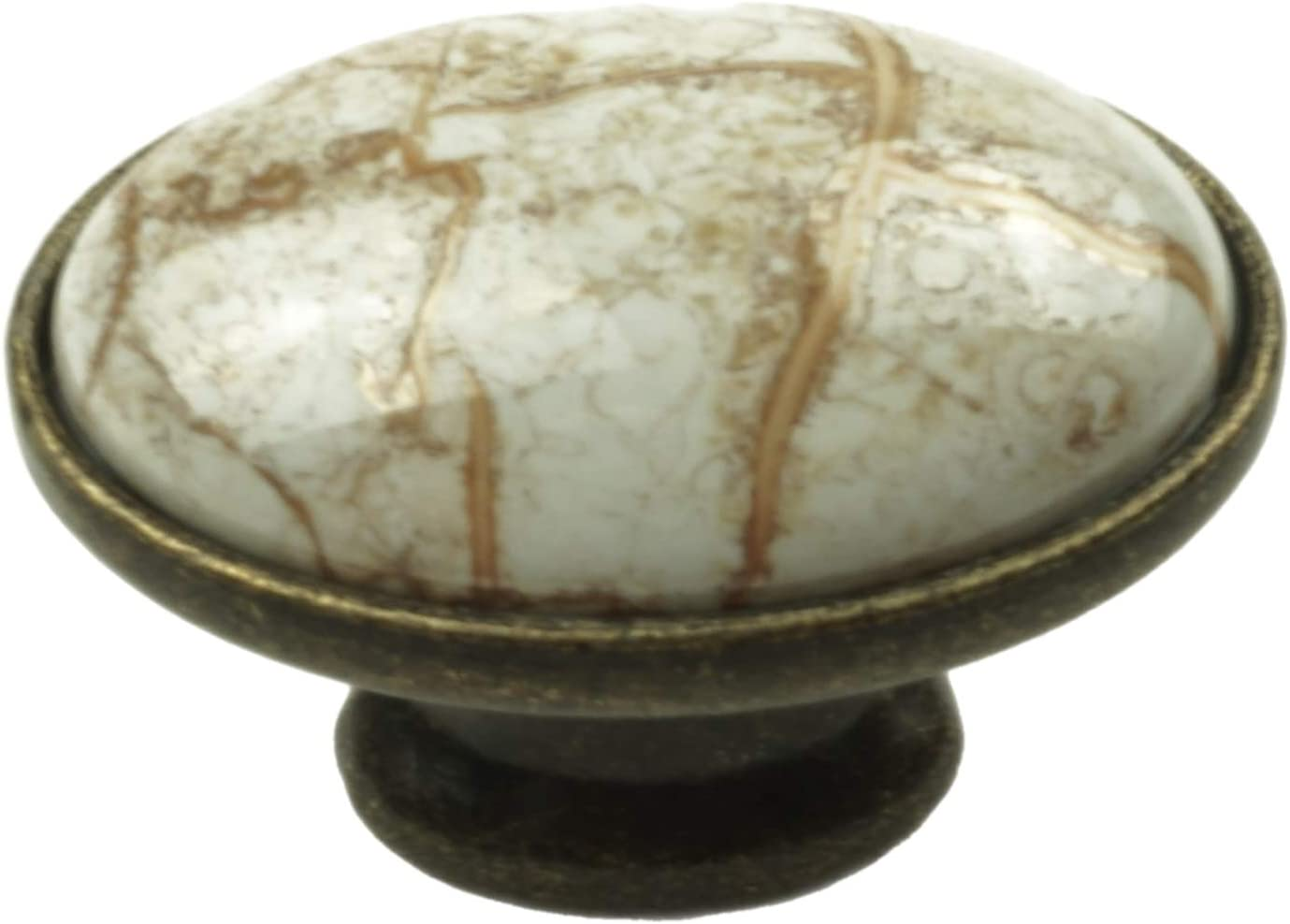 DIY Decor Hub-Set of 10 Antique Brass-Brown Ceramic Oval Knobs, Handles Pulls for Cabinets, Cupboard Dresser, Drawers, Kitchen Furniture or Kids Room