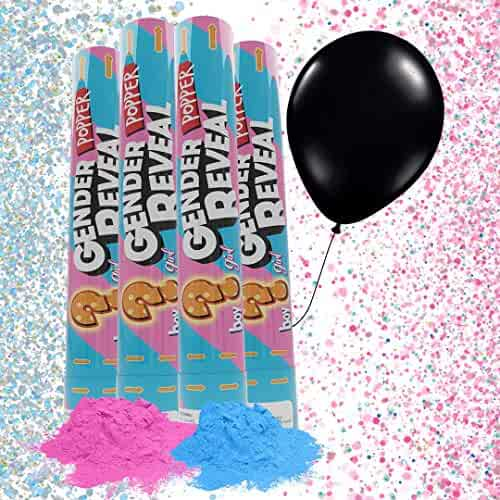 JAPJA Gender Reveal Party Supplies - Confetti Powder Cannon and Balloon, Set of 4 Powder Cannons (2 Pinks and 2 Blues) and 1 Confetti Balloon, Perfect Gender Reveal Decorations for Parties and Games