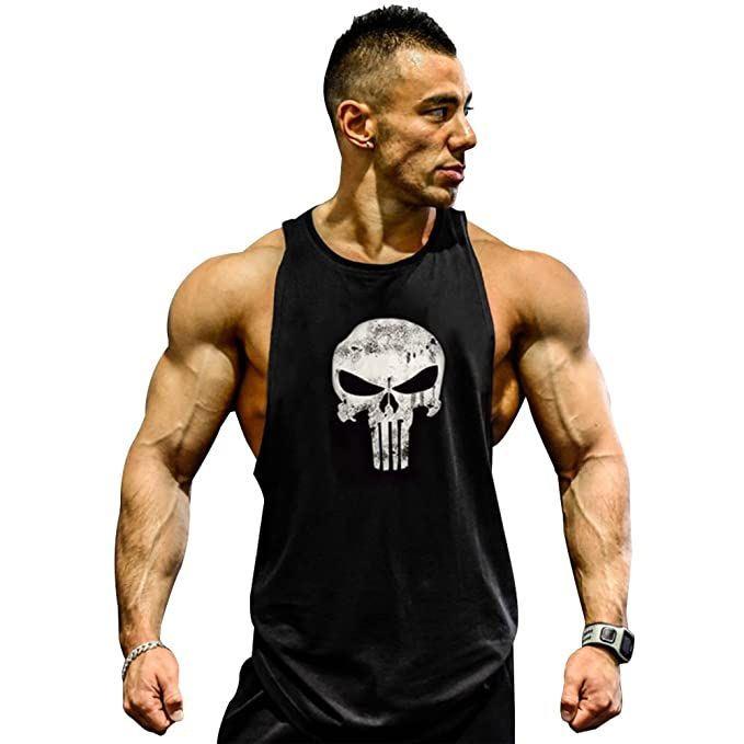 Men's Skull Print Bodybuilding Fitness Stringer Tank Top Sport Gym Sleeveless Vest ajWEkLma