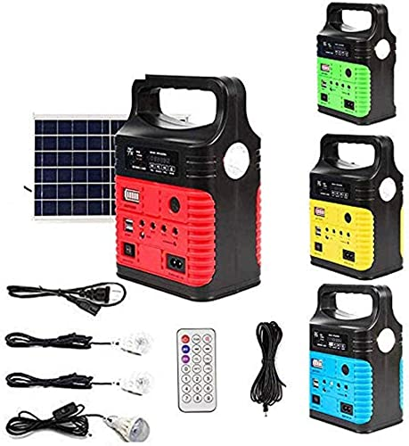 UPEOR Solar Generator Lighting System Portable Solar Power Generator Kit for Emergency Power Supply,Home Outdoor Camping,Including MP3 FM Radio,Solar Panel,3 Sets LED Lights Red
