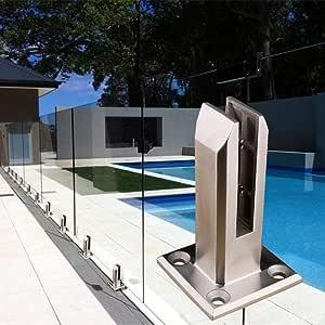 Fllyingu – Valla de cristal para piscina, de acero inoxidable, para pool, valla de valla, postes de barandilla, barandilla para balcón, jardín: Amazon.es: Bricolaje y herramientas