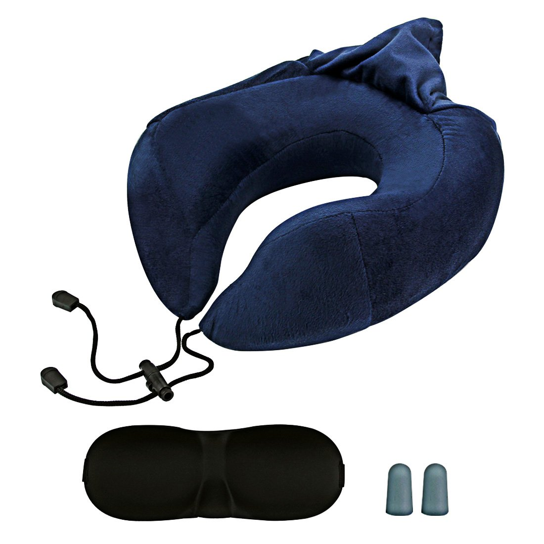 Neck Pillow, Travel Pillow, Memory Foam Neck Support, Memory Foam Luxury Ergonomic Neck Pillow for Chin and Neck Support, Airplane Travel Kit With Ultra Plush Velour Cover, Sleep Mask and Earplugs