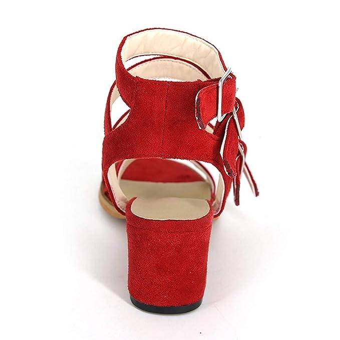 2d9717a80a1 Amazon.com  JJLIKER Women Gladiator Buckle Strap Mid Heel Sandals Peep Toe  Non-Slip Suede Pumps Summer Fashion Dress Shoes  Clothing