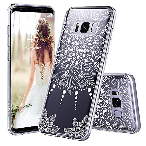 huge discount 9b8fe 92cbf Galaxy S8 Plus Case, Galaxy S8 Plus Clear Case, MOSNOVO White Henna Mandala  Floral Lace Clear Design Printed Hard with TPU Bumper Protective Back Case  ...