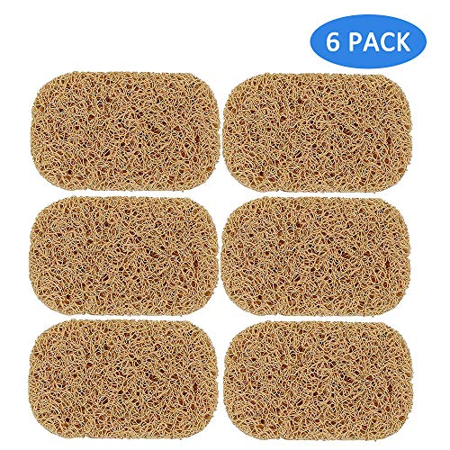 Soap Saver Soap Dish for Shower Waterfall Bar Soap Holder Natural Ridged for Bathroom Kitchen Counter Top (Brown, 6 Pack)