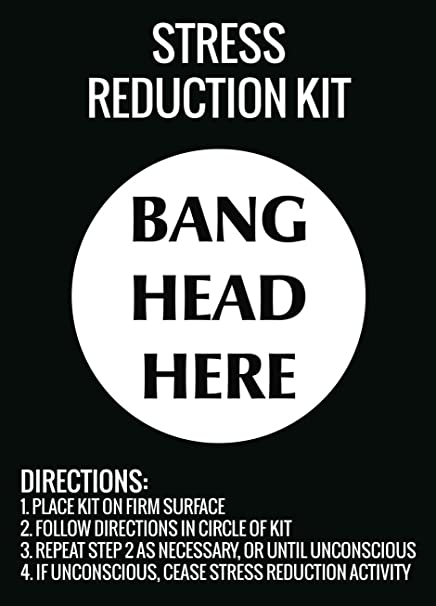 Amazon Com Stress Reduction Kit Bang Head Here Wall Hanging Print Funny Directions Sign Office Products