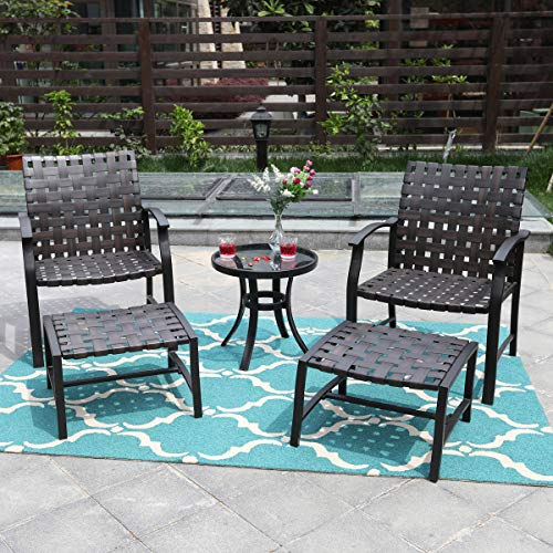 (PHI VILLA Outdoor Patio Strap Strapping Chairs and Ottoman with Glass Top Side Coffee Table Set of 5)