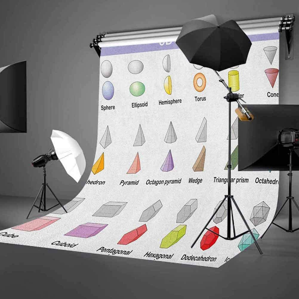 9x16 FT Vinyl Photography Backdrop,Learning The 3D Shapes for Kids Different Geometric Figures Teaching Collection Background for Graduation Prom Dance Decor Photo Booth Studio Prop Banner