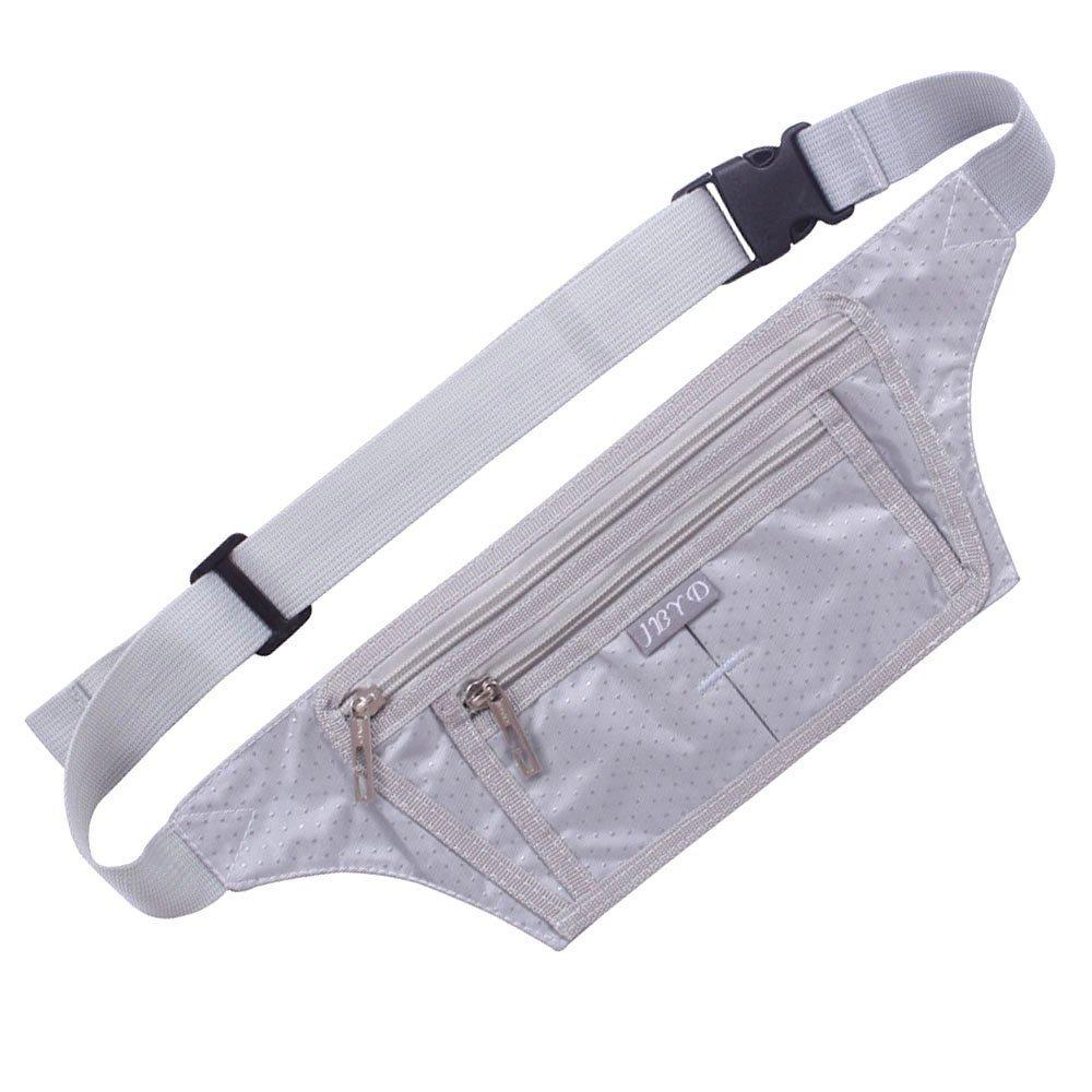 Naoki Outdoor Sports Running Jogging Cycling Hiking Camping Climbing Travel Ultra-thin Waterproof Polyester Waist Pack / Bag Runner Belt(Silver)