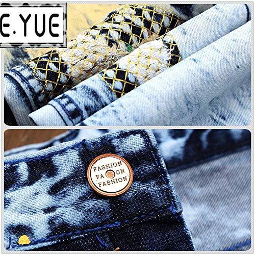 In Casual A Stile Strappati Uomo Blau Slim Vintage Da Jeans Denim Fit Pantaloni Vita Abbigliamento Bassa gpqan0UU
