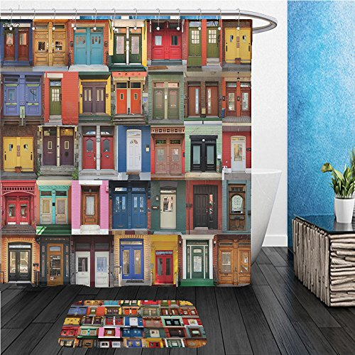 Beshowereb Bath Suit: ShowerCurtian & Doormat collage of old and colorful doors from montreal canada - Sale Canada Versace