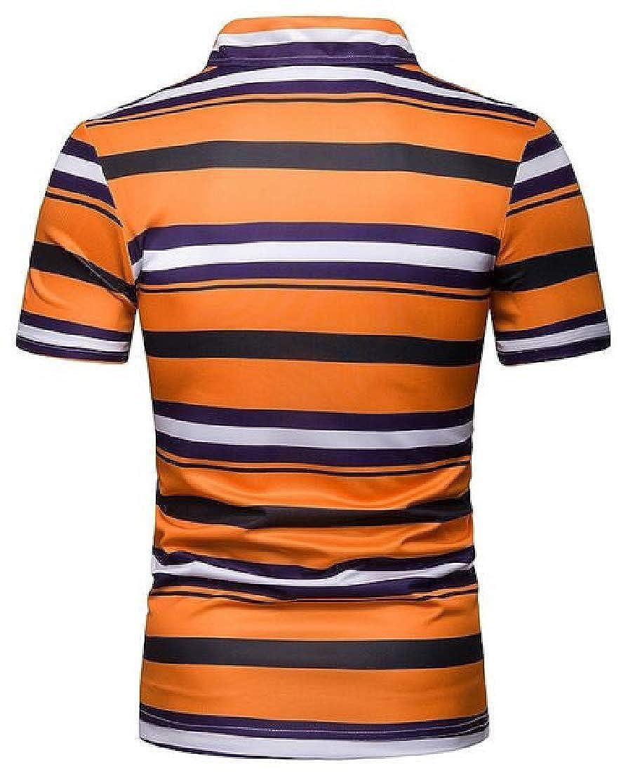 M/&S/&W Mens Fashion Stripe Polo Shirts Patchwork Short Sleeve T-Shirts