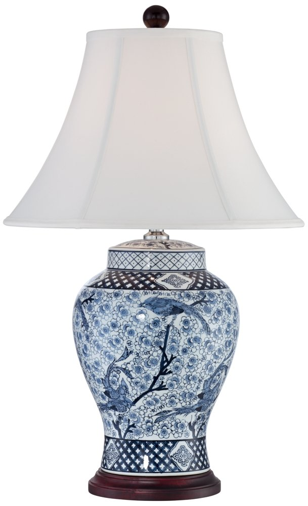 Shonna Blue and White Porcelain Jar Table Lamp by Barnes and Ivy